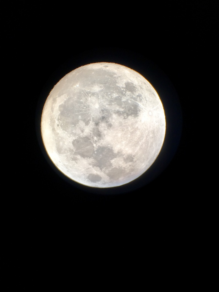 Super moon via telescope and iPhone